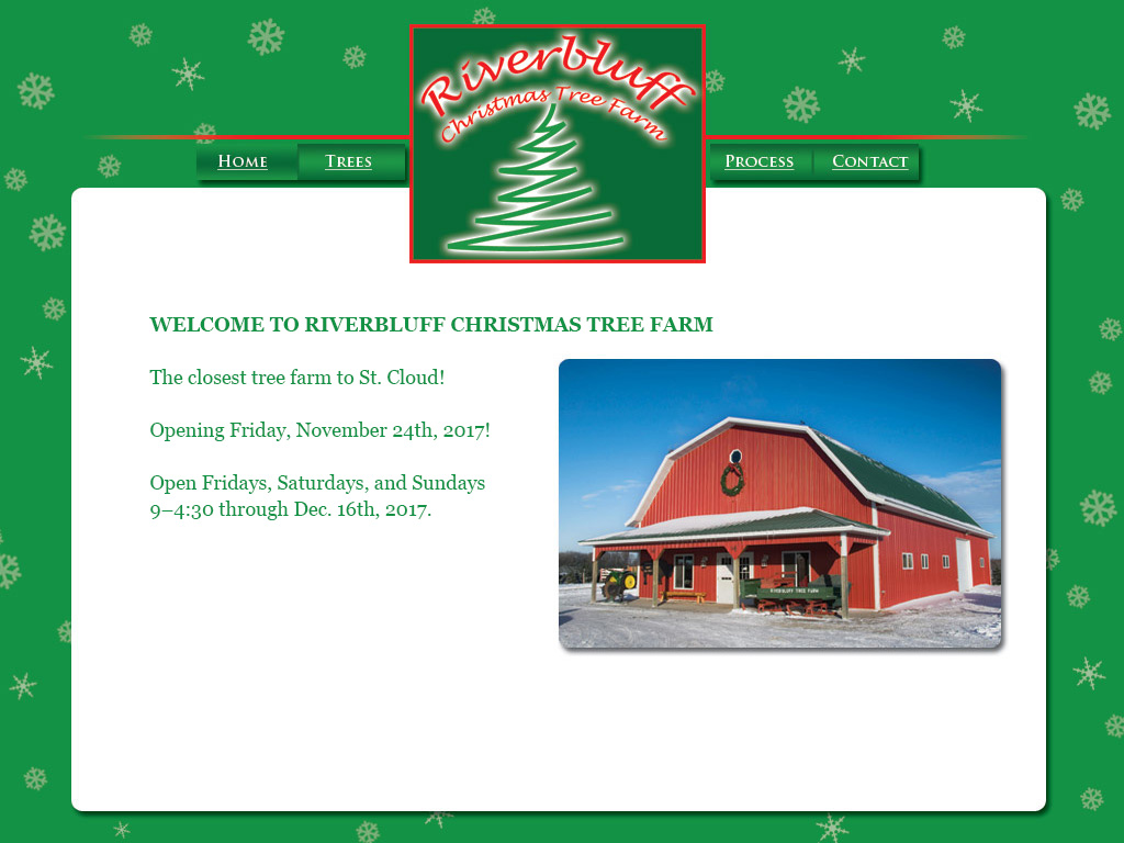 Riverbluff Tree Farm open Fridays thru Sundays November 24th thru Dec 16th